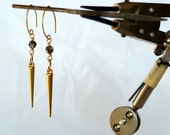 Matt Gold Spike Crystal Antiqued Brass Petal Dangle Earring