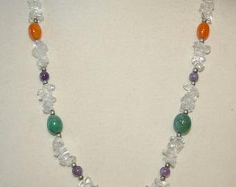 Multi Color Stone Necklace,  Clear Quartz Chips, Amethyst, Carnelian, Aventurine, Tumbled Polished Stones,  Vintage 1970's