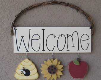 WELCOME SIGN  with bee hive, sunflower, and apple decor for wall and home decor