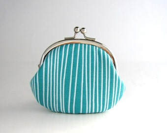 Frame Coin Purse- Aqua Stripe