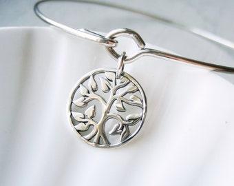 Tree of Life Bangle Bracelet  - Family Tree - Sterling Silver Bangle