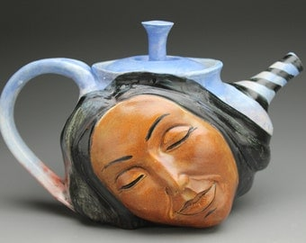 Dreaming Teapot Goddess Face Sculpture Serving Art with Buddha Under a Tree at Sunrise Sunset, Original Painting Bas Relief Hand in the Sky