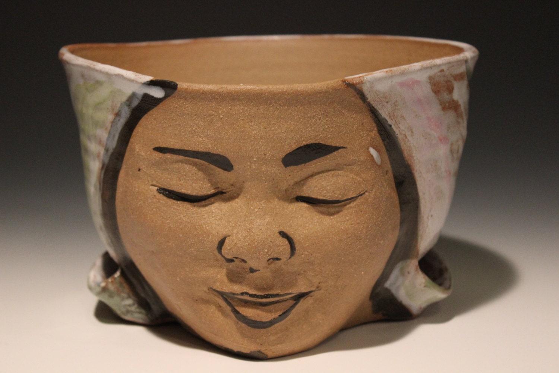Planter Head Face Sculpture Ceramic Flower Pot Birds Flying