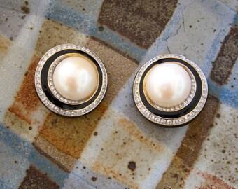Nina Ricci Swirl Earrings Gold Plated Faux Domed Pearls French Black Enamel Swarovski Crystals Elegant Luxe Love Token
