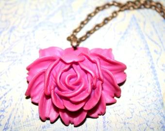 Fuschia Flower Necklace