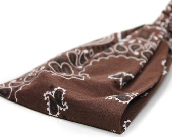 Mens Headband Brown Bandana Headband Hair Bandanna Head Wrap for Men Brown Headscarves WIde Headband Headwrap (#4003) X RS
