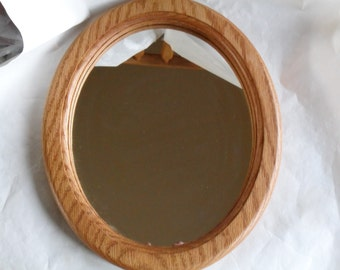 Oak Wood Oval Mirror HandMade