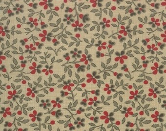 ESPRIT DE NOEL Moda shabby quilt fabric French General Christmas Kaari Meng oyster cream red floral calico 1 yard 13644-15