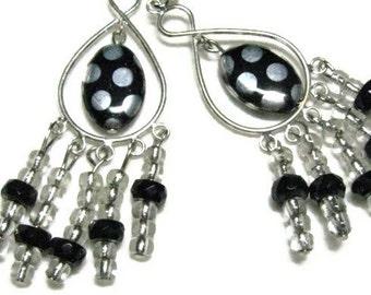 Black and Silver Dangle Earrings, Polka Dot Earrings