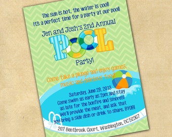 Fully Customizable Invitation Pool Party Summer Time Party Adults or Children Swim Party 5x7 JPEG or PDF Digital File for e-mail or print