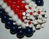 vintage RED WHITE and BLUE three strand floral necklace  5a2