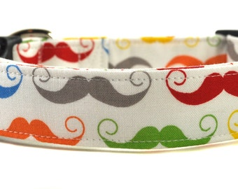 The Mustache in White - Multicolored Dog Collar