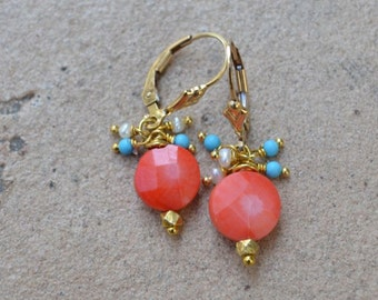 Coral Turquoise Pearl Earrings Gold Filled