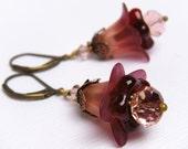 Red Flower Earrings, Peach Plum Flower Earrings, Vintage Style Earrings, Floral Earrings, Gift For Gardener - Peach Berry Plum