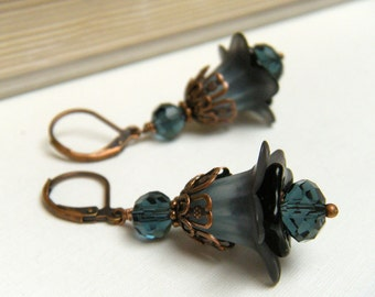 Blue Flower Earrings, Vintage Style Earrings, Copper Floral Earrings, Gift For Gardener - Montana Blue