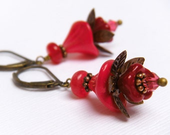 Red Flower Earrings, Vintage Style Earrings, Cherry Red Floral Earrings, Gift For Gardener, Christmas Earrings - Red Nightshade