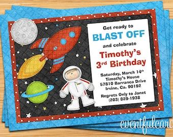 Astronaut Birthday Party Invitation  - Printable