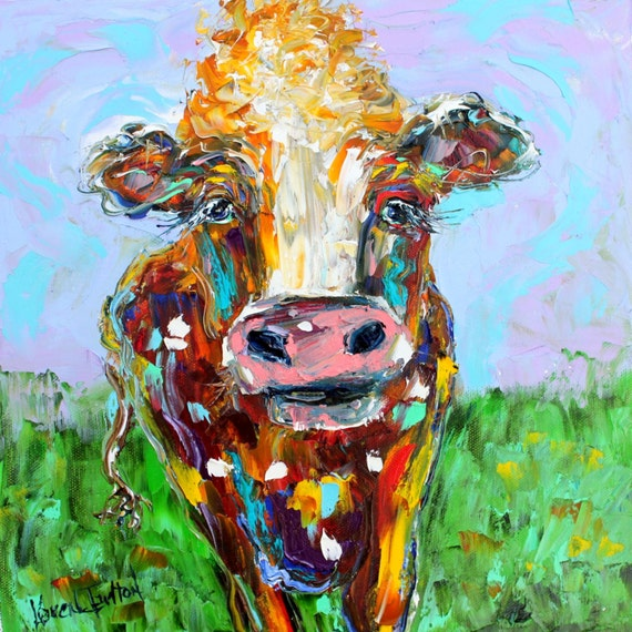 Original Colorful Cow palette knife painting oil impasto on canvas ...