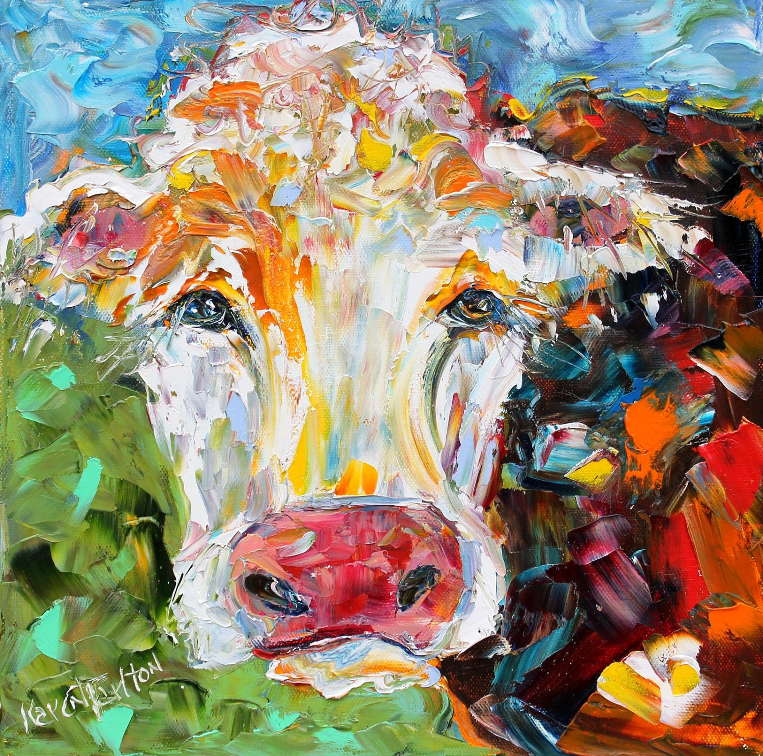 Original Colorful Cow Palette Knife Painting Oil Impasto On