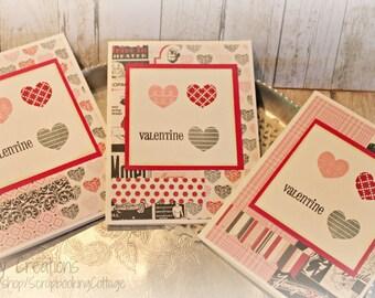 Sale-Valentine Heart Cards Set of 3 Handmade Gift Set