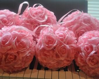 Set of 5 baby Pink Silk Rose Pomanders