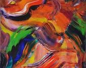 "Bright Colorful ABSTRACT Painting, 24x24, Orange, Green, Blue, ""Like Moving Through Honey"", Paula Brett"