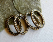 Pewter Hammered Oval Connectors, Textured Oval Links, Antique Brass Plated Pewter, USA made by Tierracast , 13x18mm (4pcs) NEW