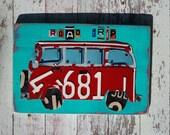 Personalized License Plate  art VW Surf Bus Beach Ocean Road Trip Travel Boy  Girl Teen Toddler Car Custom Art Recycled States adventure