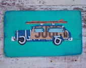 Surf's up Woody Wagon Turquoise Navy Red Car Surfboard Surfer Beach Word Block Sign Custom Funky States License Plate Art Recycled