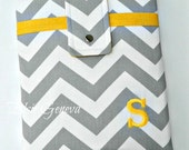 "Personalized Grey Chevron and Pink iPad 13"" Mac Laptop Sleeve Case Note Tablet Or Choose Any Other Fabric in My Shop"