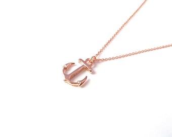 Rose Gold Anchor Necklace, 14kt Rose Gold Filled, Nautical Necklace, Delicate Rose Gold Necklace, On Sale