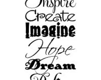 Inspire Create Imagine Hope Dream Believe Inspirational Words Vinyl Wall Decal