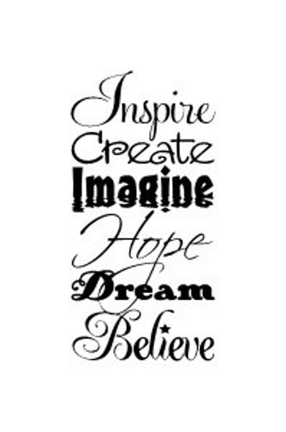 Inspire Create Imagine Hope Dream Believe Inspirational Words Vinyl Wall Decal