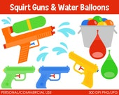 Squirt Guns and Water Balloons - Digital Clip Art Graphics for Personal or Commercial Use