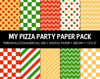 Pizza Party Digital Printable Paper Pack - For Commercial or Personal Use