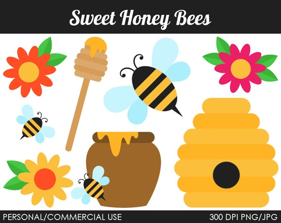 Sweet Honey Bees Clipart - Digital Clip Art Graphics for Personal or Commercial Use