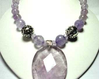 Amethyst Necklace Lavender Amethyst Large Faceted Pendant and Necklace with Sterling
