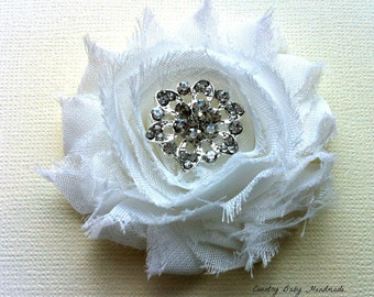 Shabby Rose Hair Clip with Rhinestone Center...Hair Clip...Wedding Hair Clip...Bridesmaid Hair Clips...Broach...Brooches...You Choose Color