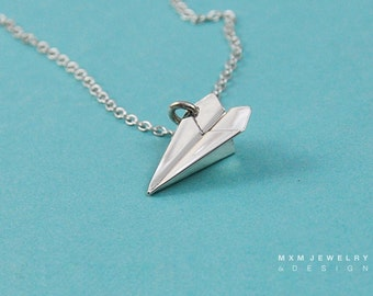 Medium / The Original HandFolded Paper Airplane (Fold Up) Necklace