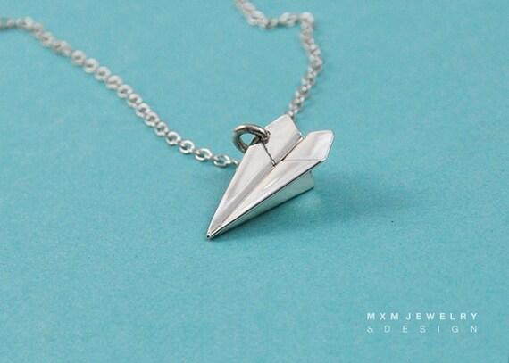 Medium / The Original HandFolded Paper Airplane (Fold Up) Necklace