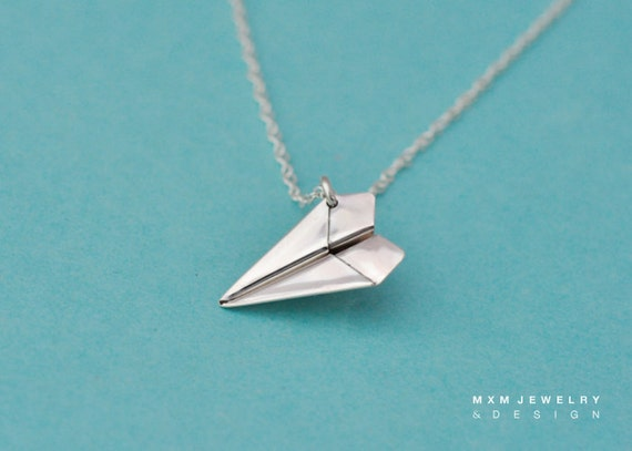 Large / The Original Handfolded Paper Airplane Necklace / Sterling Silver