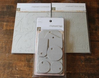 Basic Grey Chipboard NumberPile, Block Alphas and Tags for scrapbooking, card making and collage alphabet letters numbers and tags