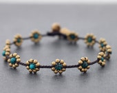 Chrysocolla Daisy Brass Beaded Anklet