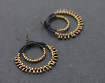 Woven Dangle Hoop Earrings Chandelier Gypsy