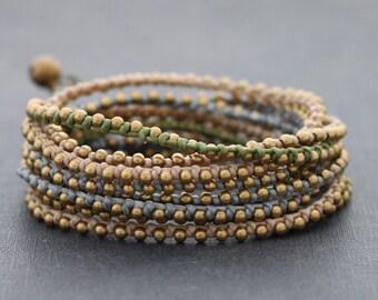 Earthy Pastel Stud Wrap Bracelet Necklace