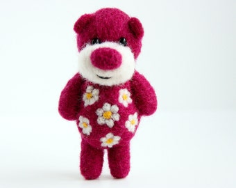 Beet colour felted pocket bear with flowers