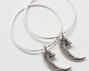 Tiny Falcon Talons Hoop earrings in Sterling Silver Blue Bayer Design NYC