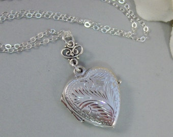 Vintage Romance,Locket,Sterling Silver,Silver Locket,Heart Locket,Pearl,Sterling Silver Locket. Handmade Jewelry by valleygirldesigns.