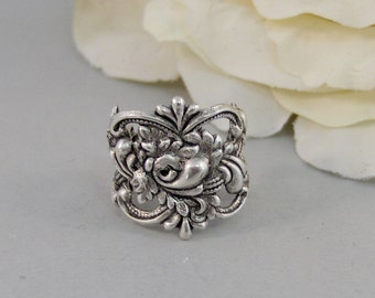 Victorian Rose,Ring,Silver,Ring,Flower,Rose Ring,Antique Ring,Silver Ring,Blossom,Posey. Handmade jewelery by valleygirldesigns.