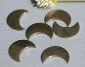 Nickel Silver Blank Small Luna Moon 17mm x 13mm 20g Metal Blanks Shape Form - 5 pieces